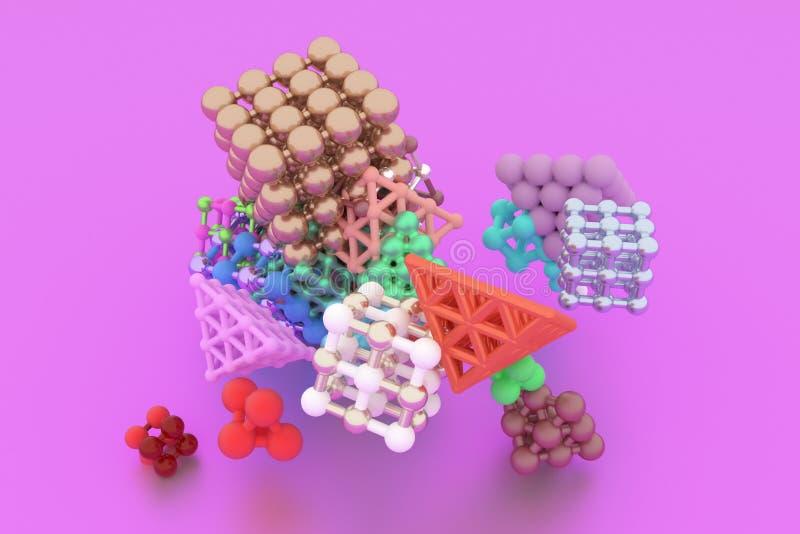 Concepture do estilo da molécula, quadrado bloqueado ou pirâmides, para a textura do projeto & o fundo rendição 3d ilustração royalty free