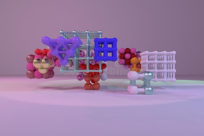 Concepture do estilo da molécula, quadrado bloqueado ou pirâmides, para a textura do projeto & o fundo rendição 3d ilustração do vetor