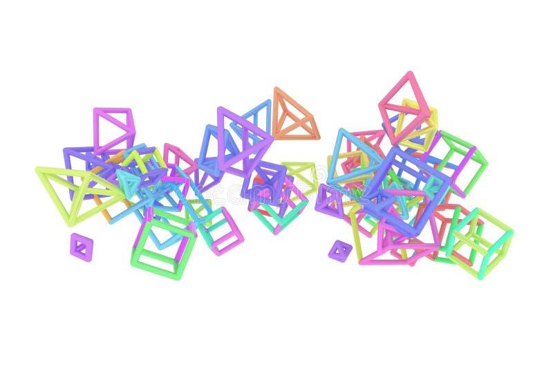 Concepture geometrisch, Bündel des Dreiecks oder Quadrat, Fliegen, ineinandergegriffen für Entwurfsbeschaffenheit, Hintergrund 3d vektor abbildung