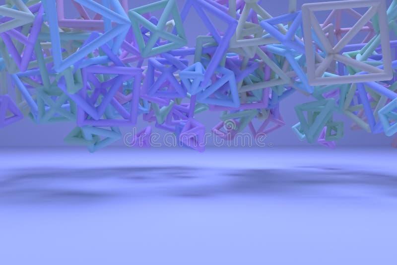 Concepture geometrisch, B?ndel des Dreiecks oder Quadrat, Fliegen, ineinandergegriffen f?r Entwurfsbeschaffenheit, Hintergrund 3d vektor abbildung