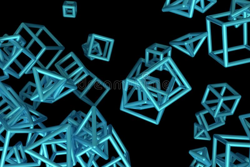 Concepture geometrisch, B?ndel des Dreiecks oder Quadrat, Fliegen, ineinandergegriffen f?r Entwurfsbeschaffenheit, Hintergrund 3d lizenzfreie abbildung