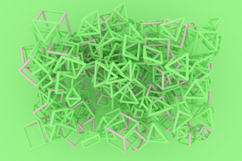 Concepture geometrisch, B?ndel des Dreiecks oder Quadrat, Fliegen, ineinandergegriffen f?r Entwurfsbeschaffenheit, Hintergrund 3d stock abbildung