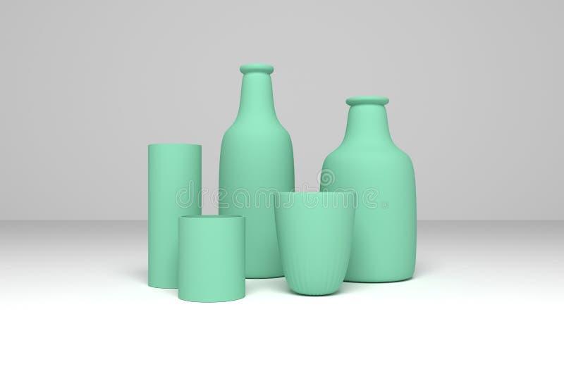 Concepture-Stilllebenflasche u. -glas F?r Grafikdesign oder Hintergrund cgi-Zusammensetzung 3d ?bertragen lizenzfreie abbildung