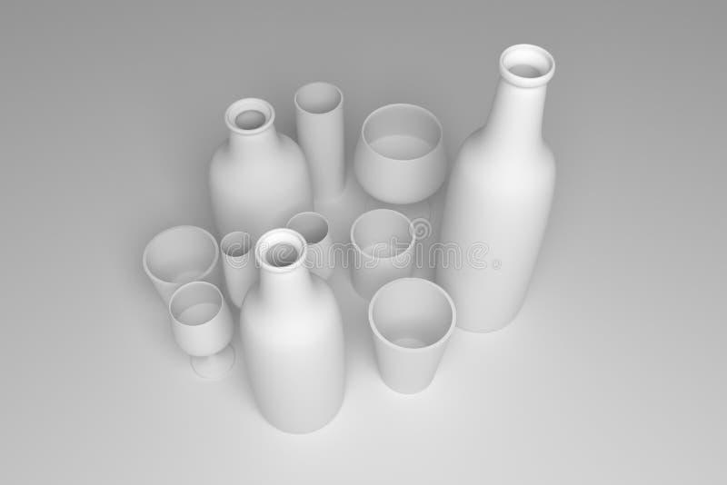 Concepture-Stilllebenflasche u. -glas F?r Grafikdesign oder Hintergrund cgi-Zusammensetzung Grau oder Schwarzweiss--b&w 3D ?bertr vektor abbildung