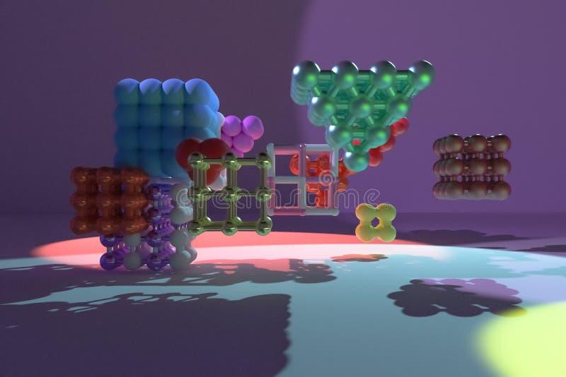 Concepture virtual geométrico, da molécula do estilo, quadrado bloqueado ou pirâmides para a textura do projeto, fundo 3d rendem ilustração do vetor