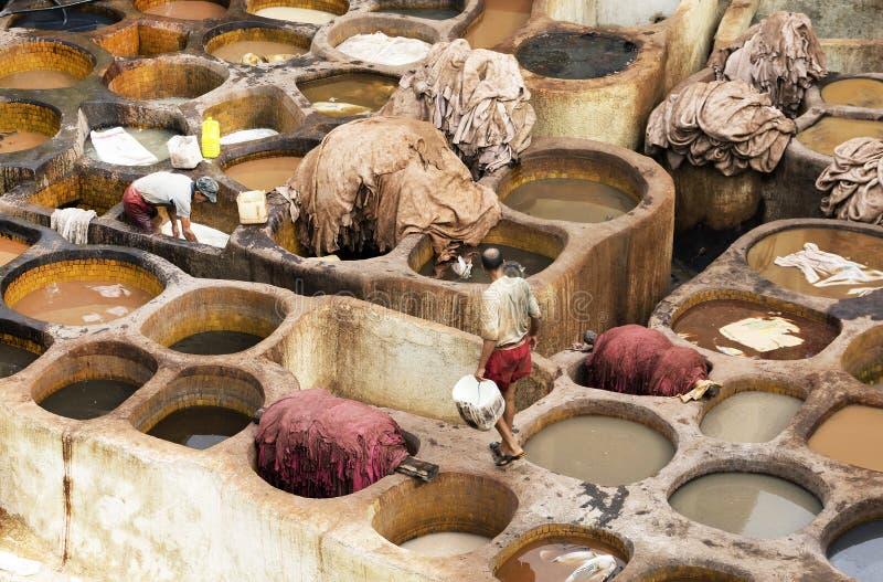 Concerie di Fes, Marocco, Africa immagini stock