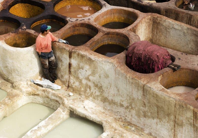 Concerie di Fes, Marocco, Africa fotografia stock libera da diritti