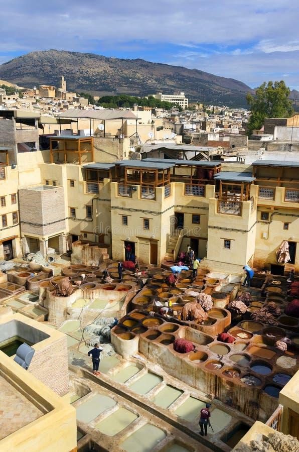 Concerie di Fes, Marocco, Africa immagini stock libere da diritti
