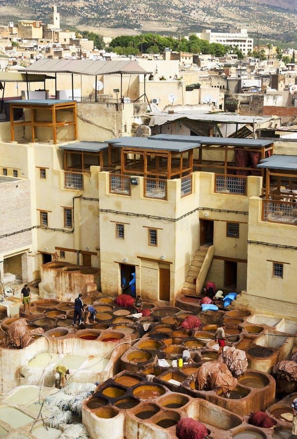 Concerie di Fes, Marocco, Africa fotografia stock