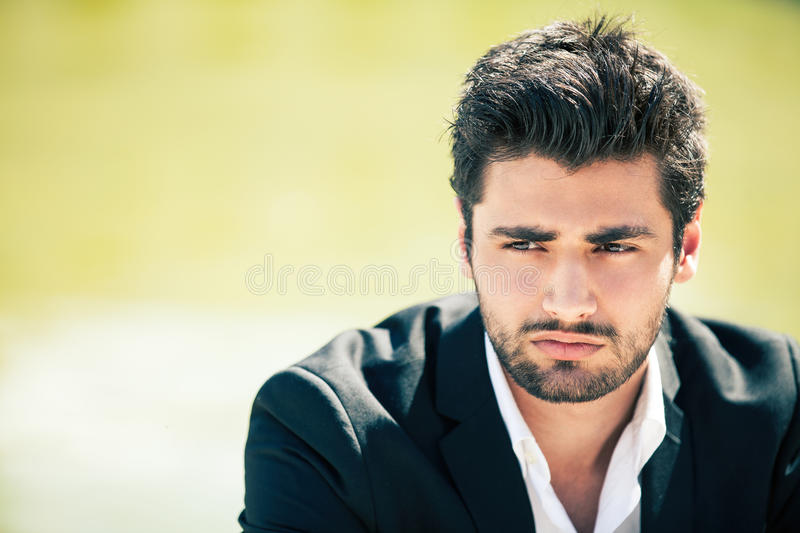 Concern and anxiety. Restless young man stock image