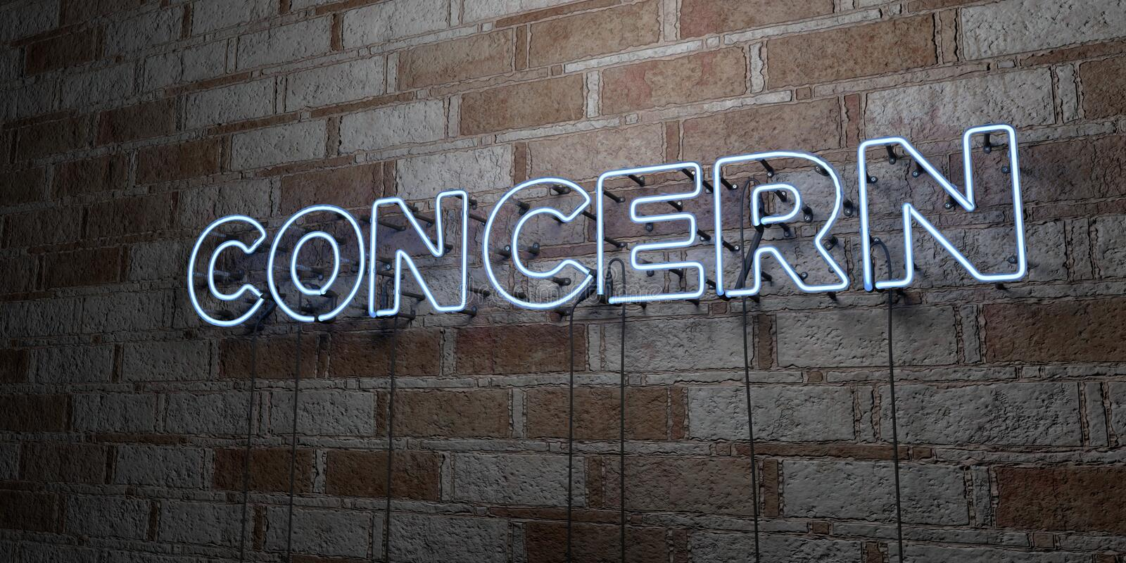 CONCERN - Glowing Neon Sign on stonework wall - 3D rendered royalty free stock illustration. Can be used for online banner ads and direct mailers vector illustration