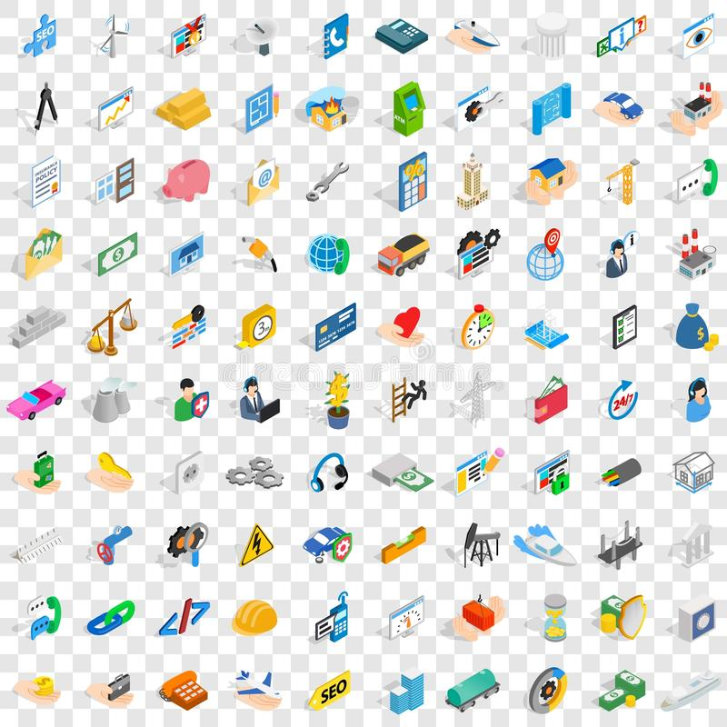100 concern icons set, isometric 3d style. 100 concern icons set in isometric 3d style for any design vector illustration royalty free illustration