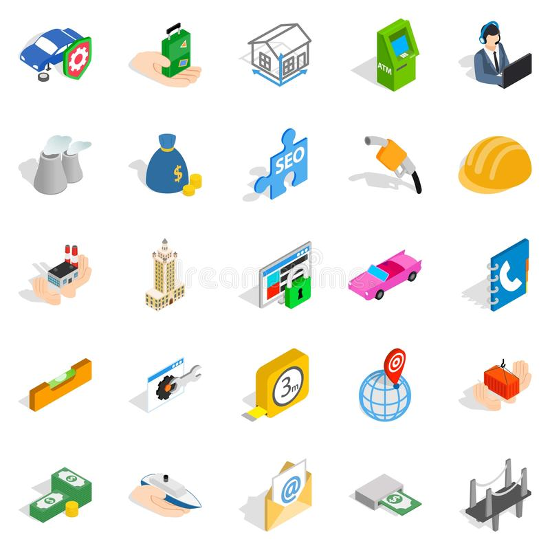 Concern icons set, isometric style. Concern icons set. Isometric set of 25 concern vector icons for web isolated on white background royalty free illustration