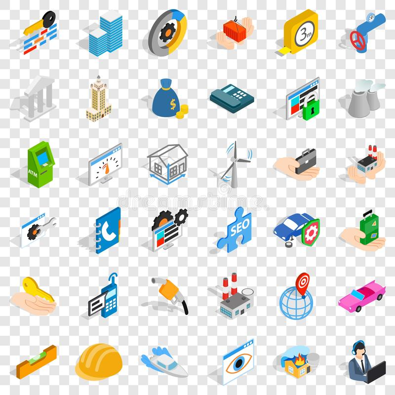 Concern icons set, isometric style. Concern icons set. Isometric style of 36 concern vector icons for web for any design royalty free illustration