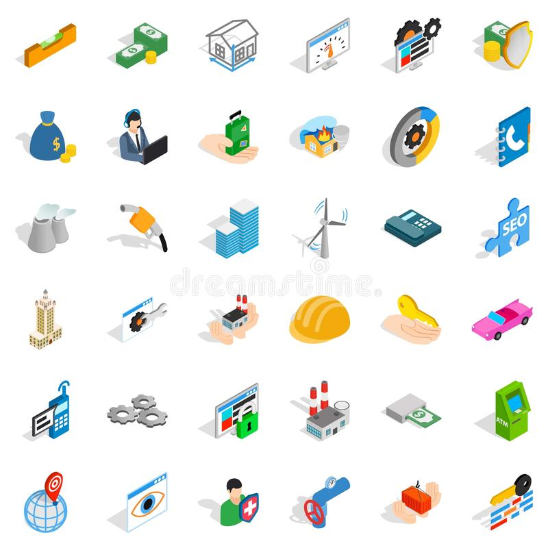 Concern icons set, isometric style. Concern icons set. Isometric style of 36 concern vector icons for web isolated on white background vector illustration