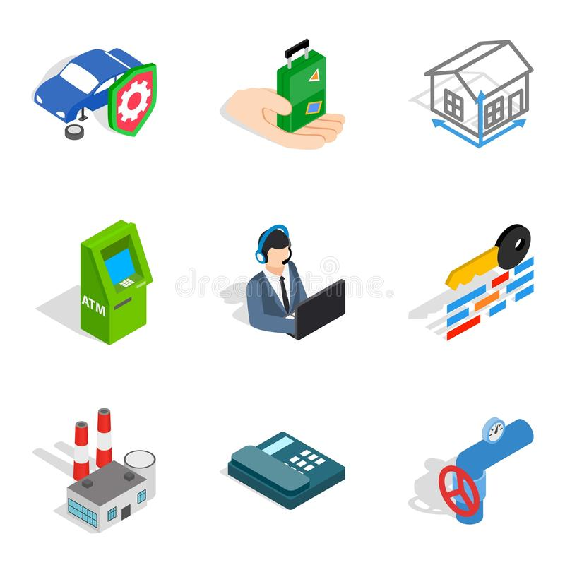 Concern icons set, isometric style. Concern icons set. Isometric set of 9 concern vector icons for web isolated on white background royalty free illustration