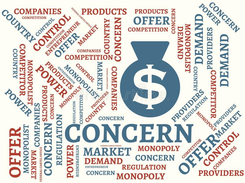 CONCERN - image with words associated with the topic MONOPOLY, word cloud, cube, letter, image, illustration. CONCERN - image with words associated with the stock illustration