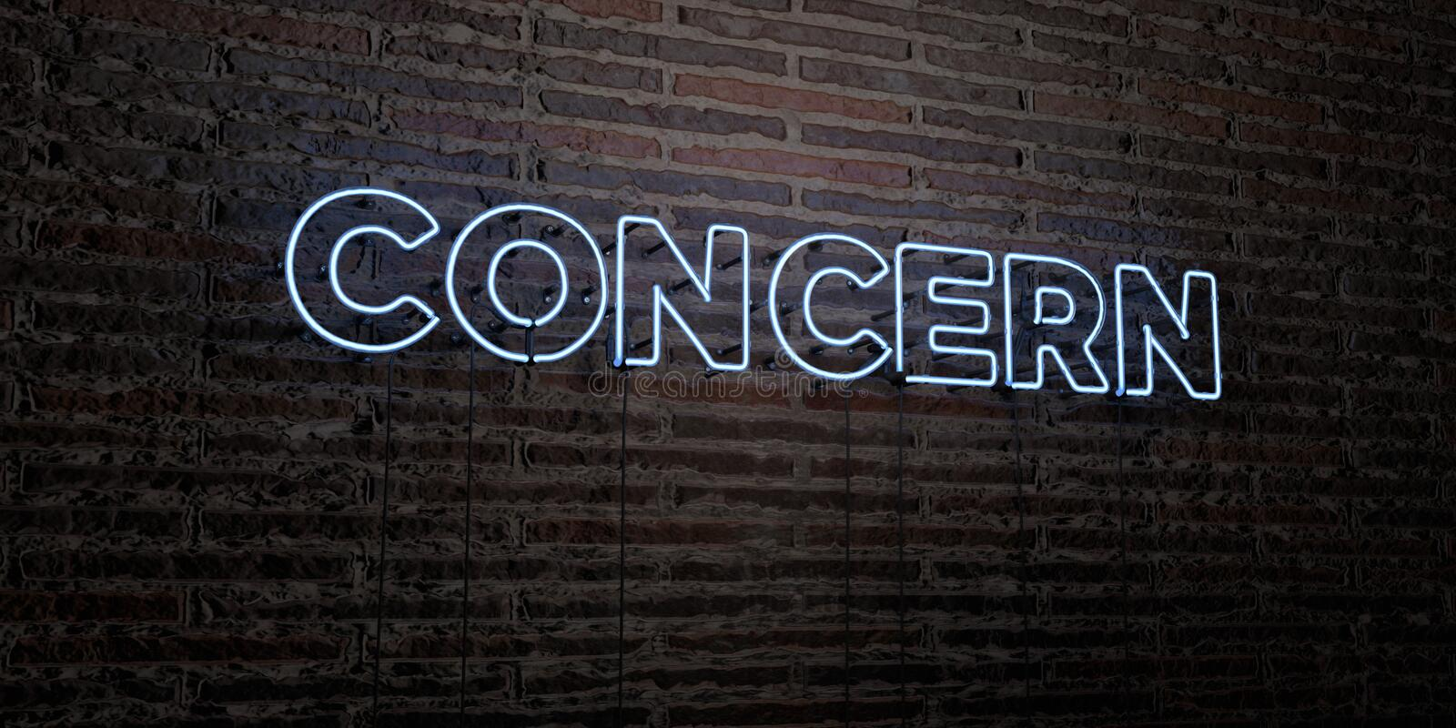 CONCERN -Realistic Neon Sign on Brick Wall background - 3D rendered royalty free stock image. Can be used for online banner ads and direct mailers royalty free illustration