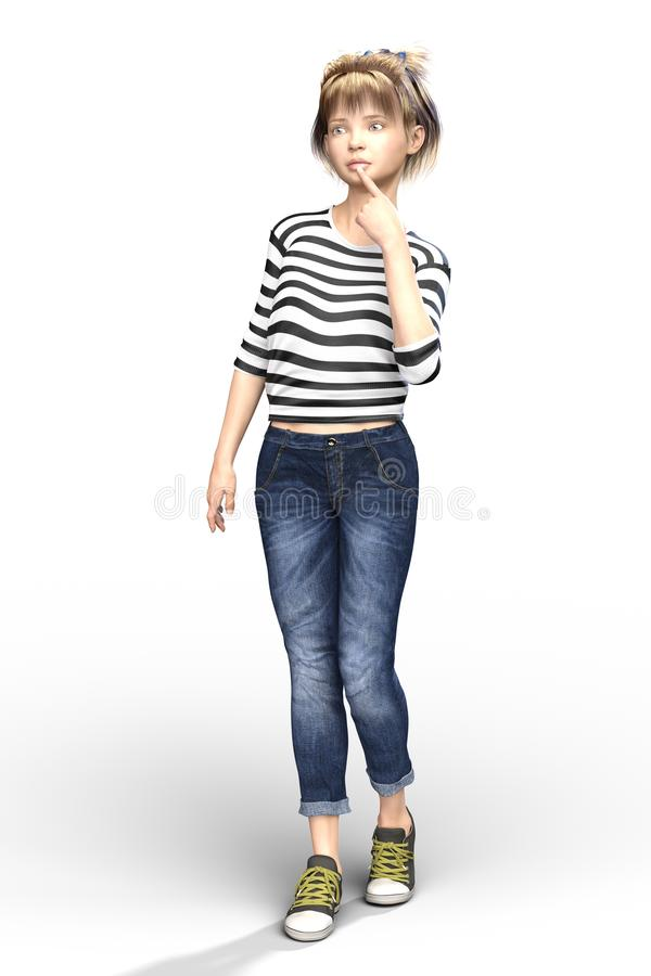 Free Concerned Looking CGI Child Or Young Teen Girl Character Isolate Stock Photos - 128473643