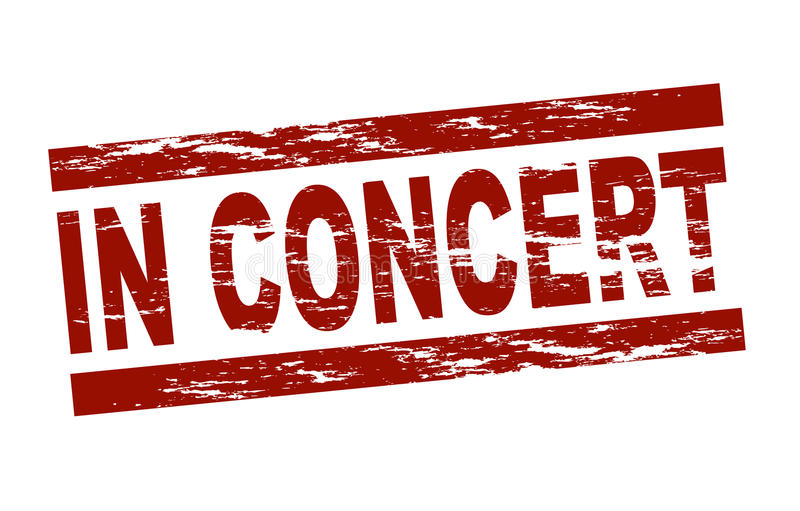 In concert. Stylized red stamp showing the term in concert. All on white background royalty free illustration