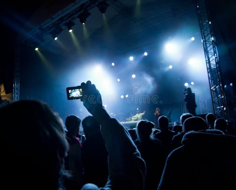 Concert. People watching open air concert stock photos