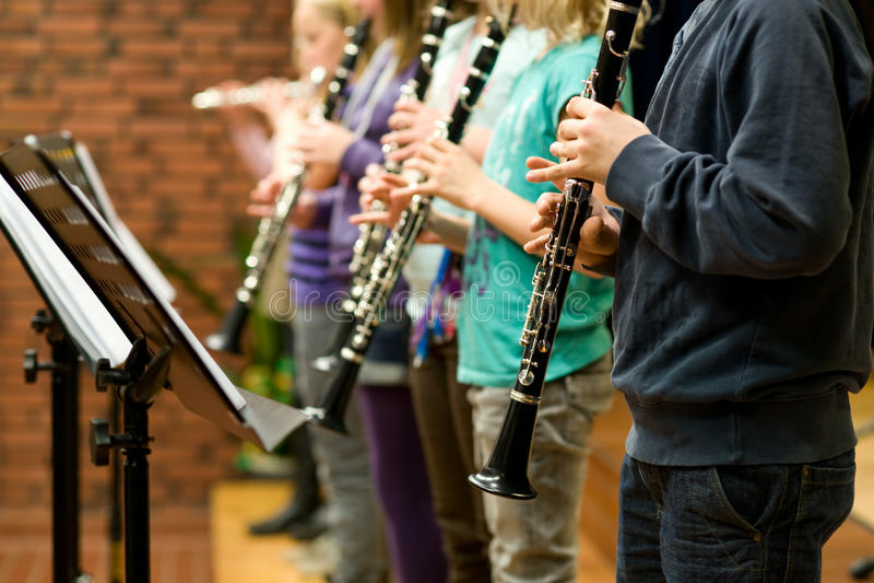 Concert. Children performance on clarinete concert stock photos