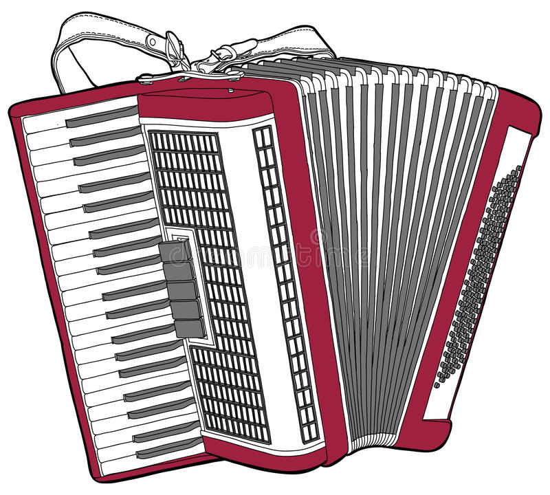 Concert Accordion. Isolated on a white background royalty free illustration