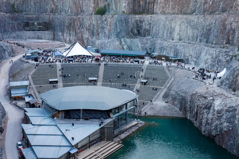 Concert arena in old disused open-pit. royalty free stock photos
