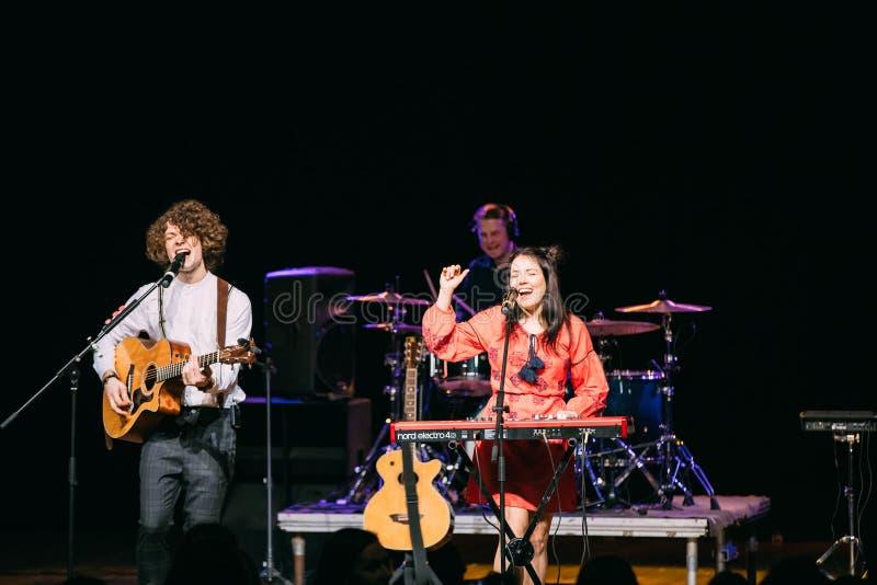 Concert of the Belarusian indie pop duo NAVI also called Naviband. Gomel, Belarus - March 17, 2017: Concert of the Belarusian indie pop duo NAVI also called stock photos