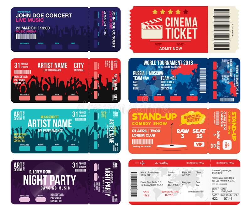 Concert, cinema, airline and football ticket templates. Collection of tickets mock up for entrance to different events royalty free illustration