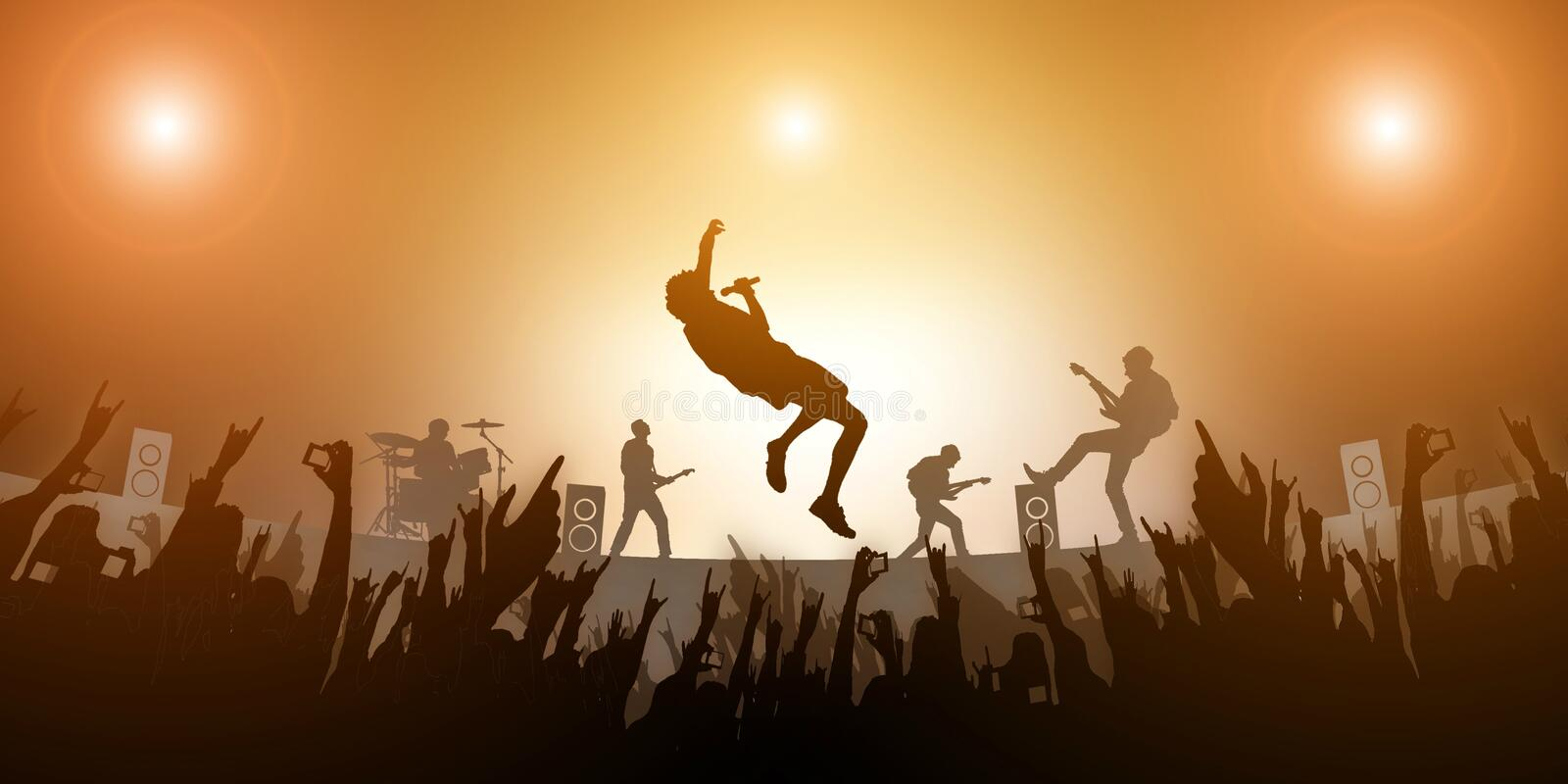 Concert Crowd Party and Music Band Festival Abstract Amber light on Background royalty free illustration
