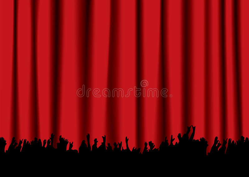 Download Concert crowd red curtain stock vector. Image of nightclub - 14125700