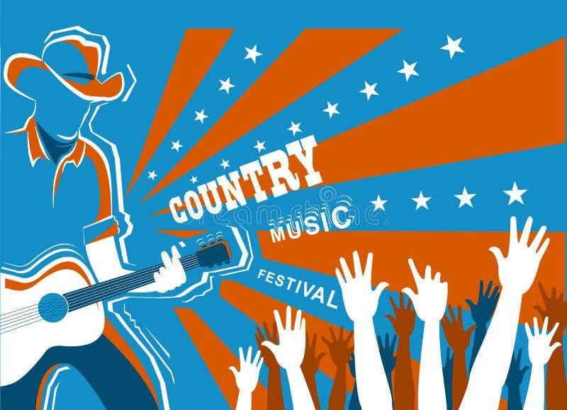 Concert de musique country avec le musicien jouant la guitare illustration libre de droits