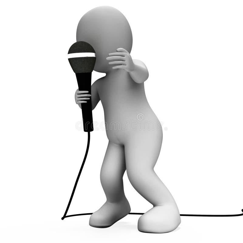 Concert de talent de Character With Mic Shows Singing Songs Or de chanteur illustration stock