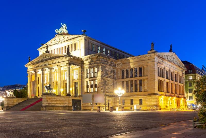 Concert Hall Konzerthaus on Gendarmenmarkt square at night, Berlin, Germany stock image