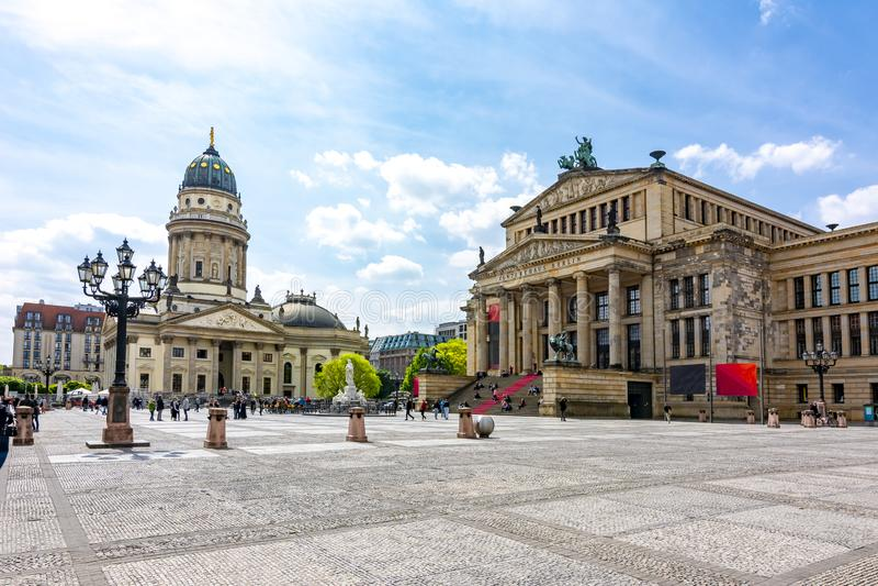Concert Hall Konzerthaus and New Church Deutscher Dom or Neue Kirche on Gendarmenmarkt square in Berlin, Germany royalty free stock photography