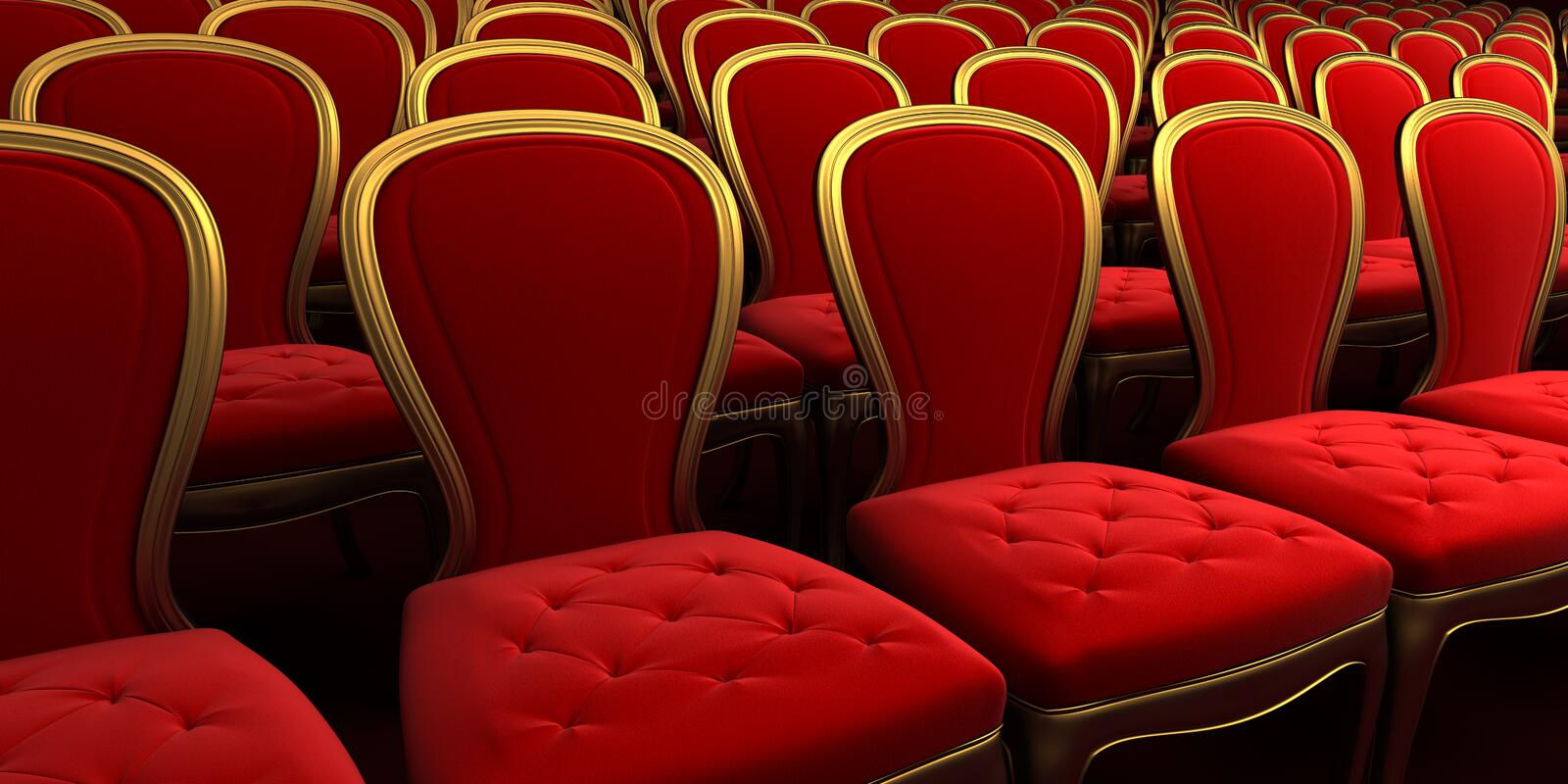 Concert hall with red seat 3d. Rendering stock illustration