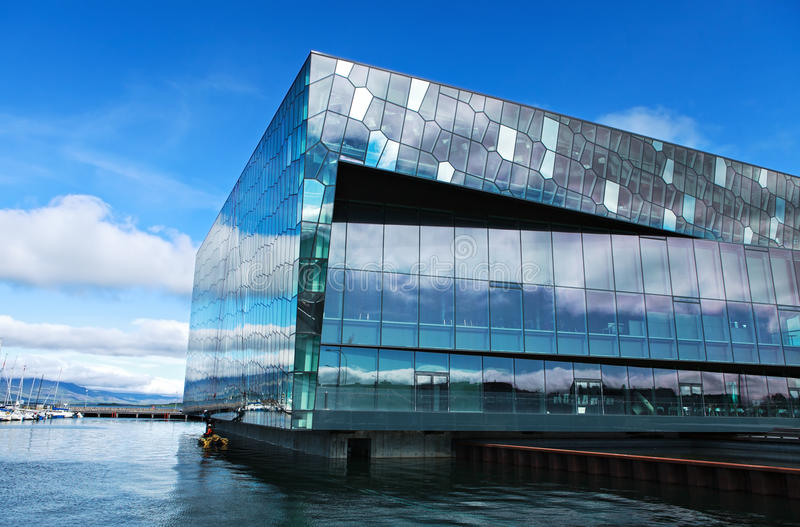 Concert hall in reykjavik stock photography