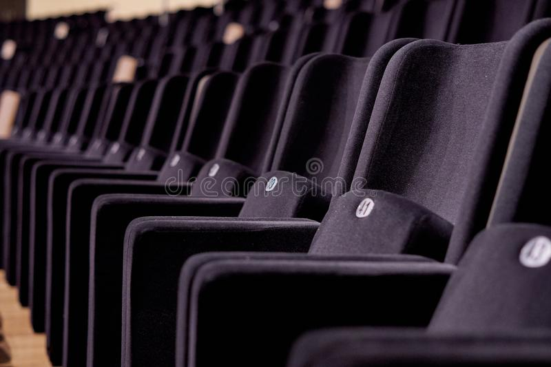 Concert hall seats rows stock images