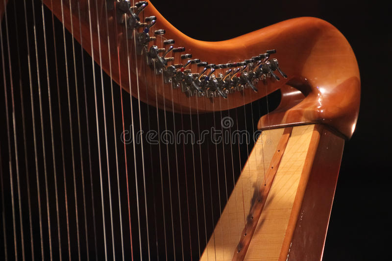 Concert Harp. close up. stock photography