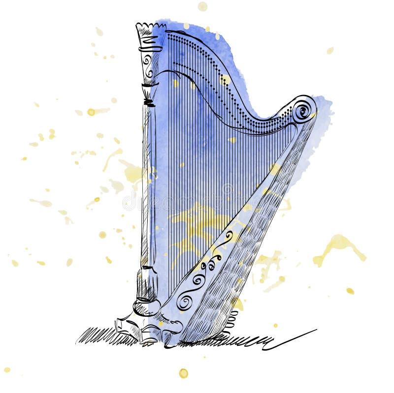 Concert harp royalty free illustration