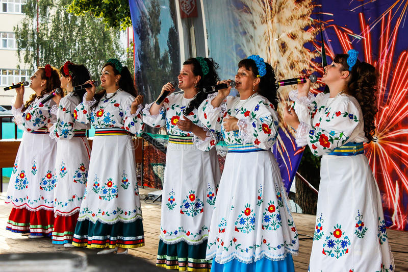 A concert in honor of the celebration of the independence Day of the Republic of Belarus in the Gomel region July 3, 2016. The celebration of independence Day royalty free stock photo