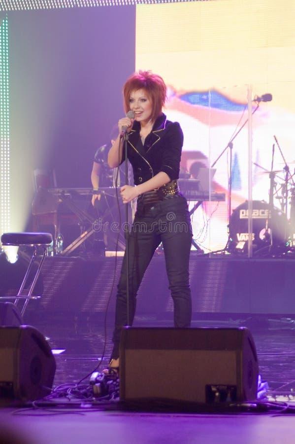 A concert of Julia Savicheva in Moscow stock photos