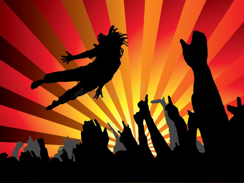 Concert jump flame stock photography