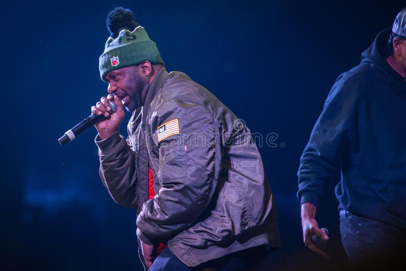 Concert of legendary rap band Wu Tang Clan from USA. MOSCOW-13 NOVEMBER,2015: Rap concert of hip hop band Wu-Tang Clan. Method Man, Raekwon, Inspectah Deck, U royalty free stock images