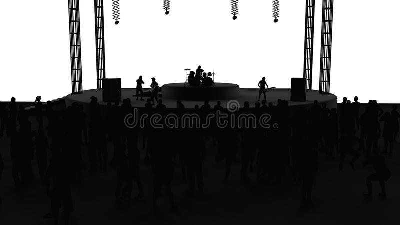 Concert, live music, band, performances and festivals. Tour and band. Spectators fun, music and dance. Disco, musical evening. vector illustration
