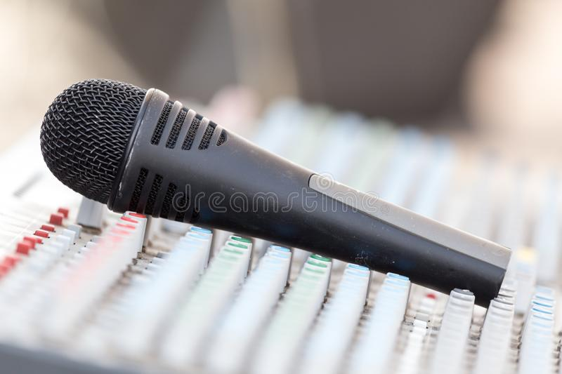 Concert music control with microphone royalty free stock image