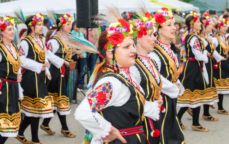 Concert of the National Women`s Dance Ensemble at the Nestenar Games in the village of Bulgarians, Bulgaria royalty free stock photography