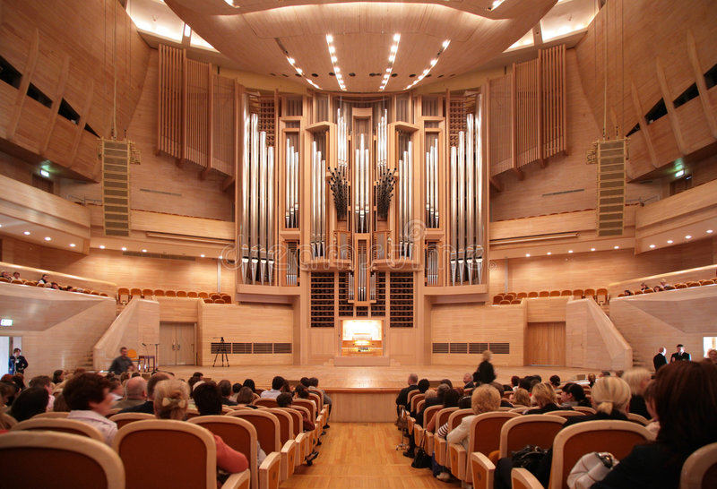 Before concert of organ music. MOSCOW, RUSSIA - OCTOBER 10: Before concert of organ music in International House of Music. October 10, 2008 in Moscow, Russia royalty free stock photo