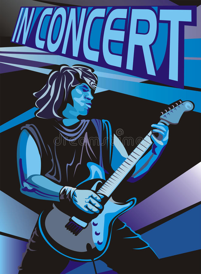 In concert - play the electric guitar